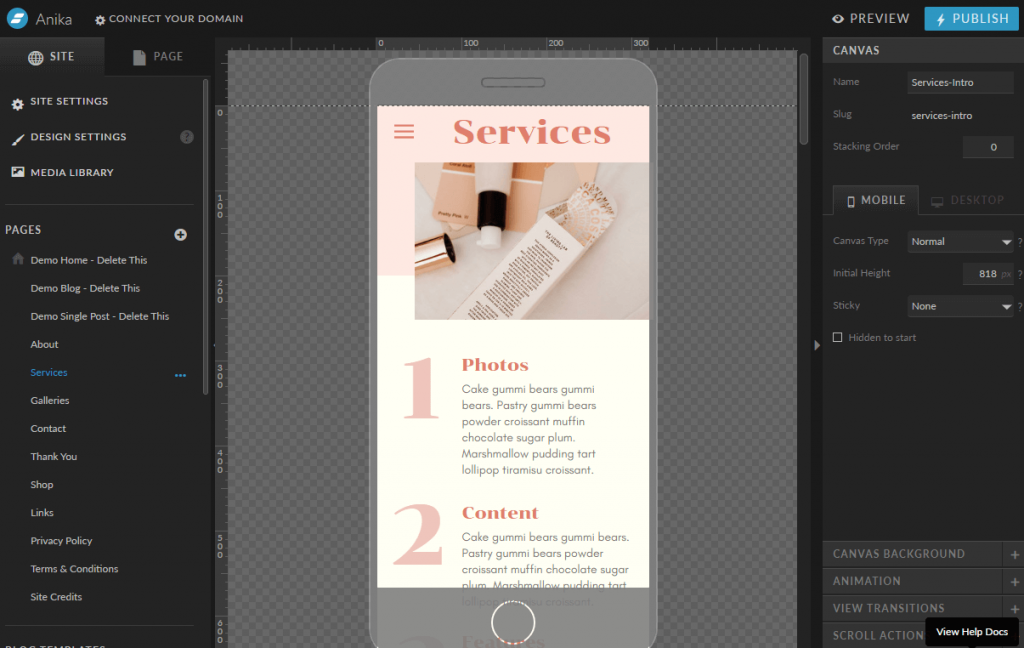 Showit Mobile editor view 1