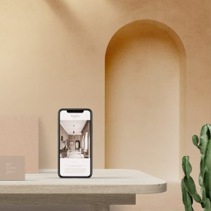 iphone on table with background arch mockup