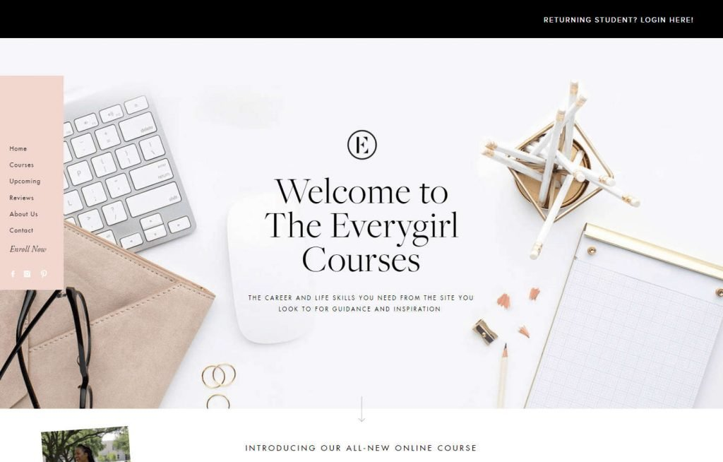 The Everygirl Courses homepage