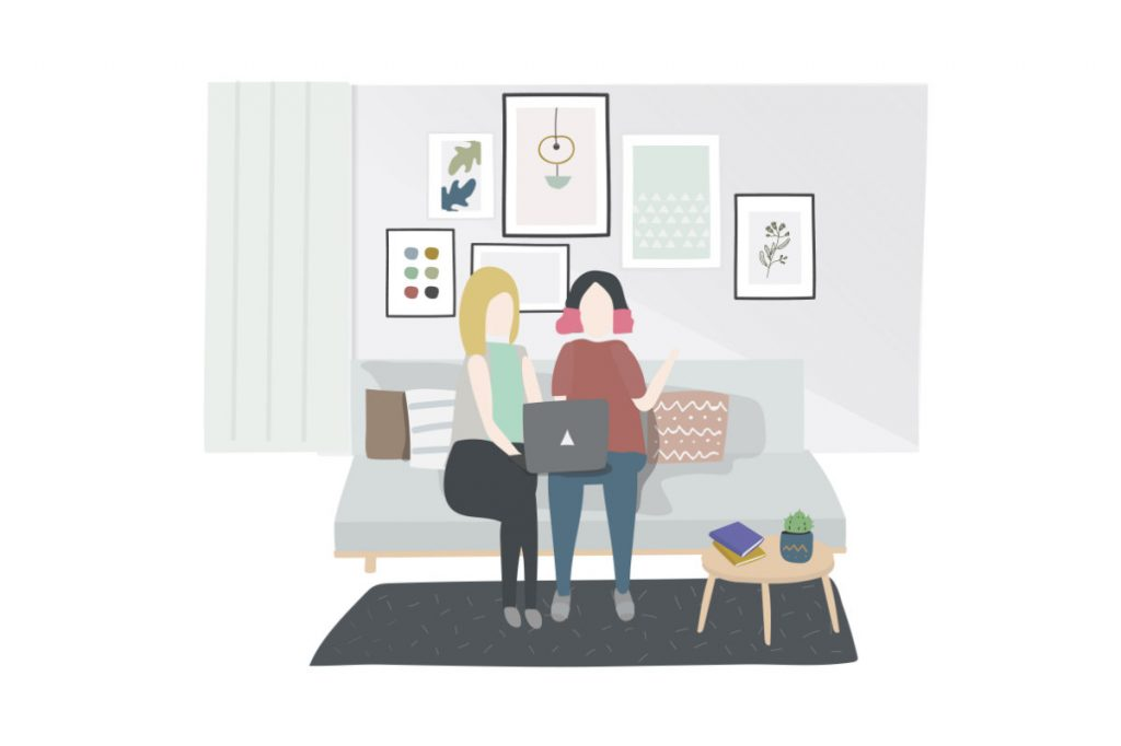 two women on couch illustration