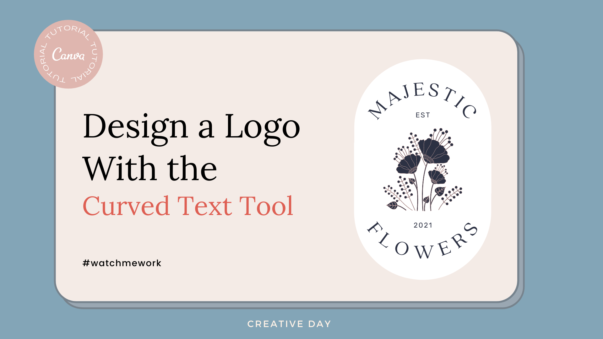 Log Design Curved Text in Canva Cover