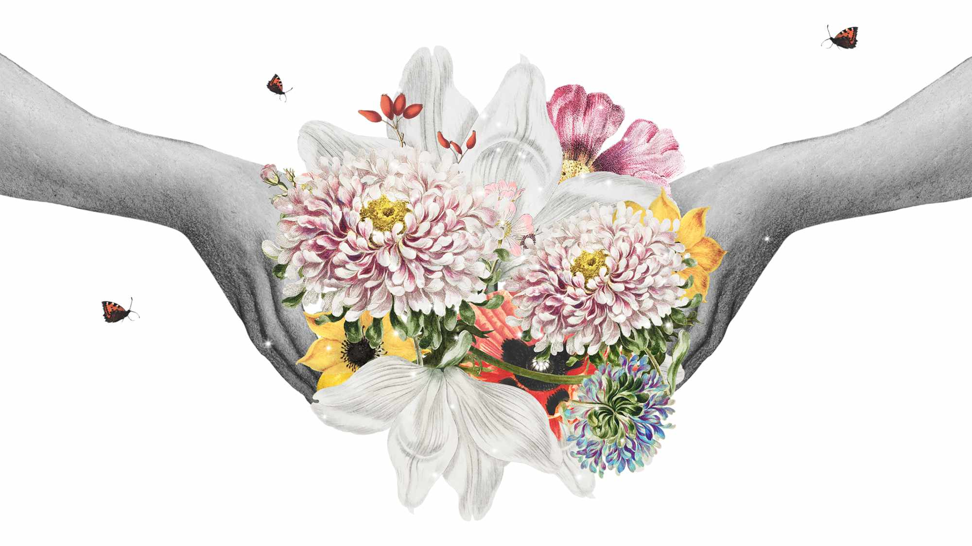 hands holding a collage bouquet