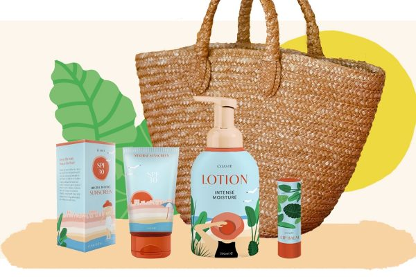 Coaste illustration for suncare products mockups with bag