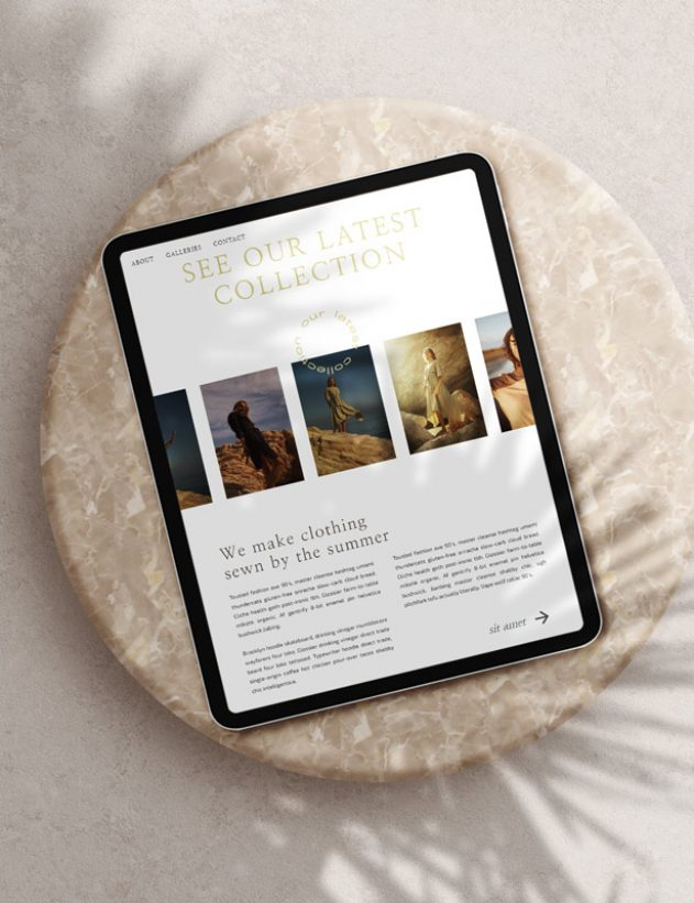 Ochre Showit template ipad mockup with shadows